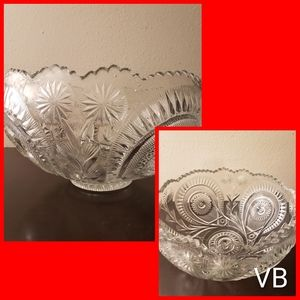 Vintage Cut Crystal Punch Bowl